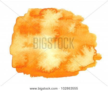Colorful Orange Watercolor Square Stain With Smudge