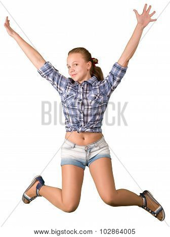Teen girl in shorts jumping on white backgroung