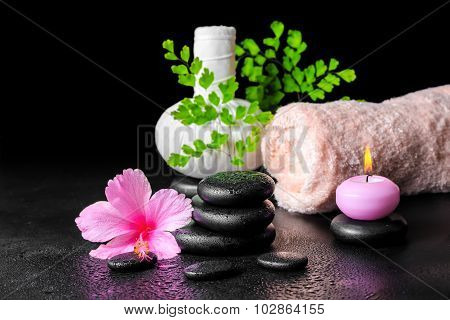 Beautiful Spa Still Life Of Pink Hibiscus Flower, Leaf Fern, Thai Herbal Compress Ball, Towel, Candl