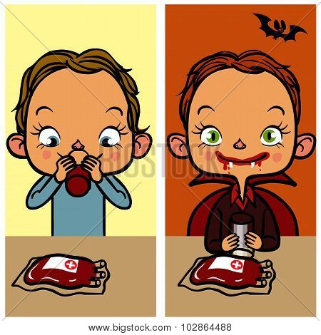 Funny Cartoon Boy Drinking Blood. Vector Illustration