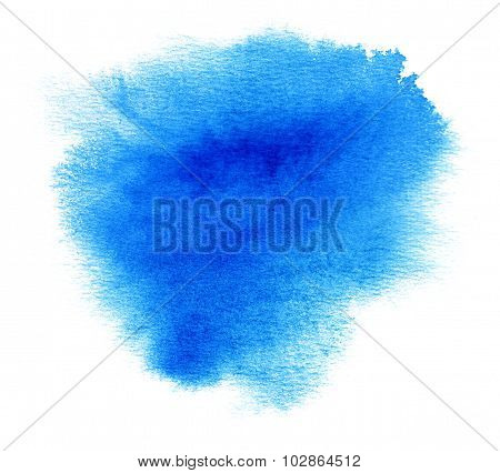 Blue Watercolor Or Ink Stain With Paint Blotch