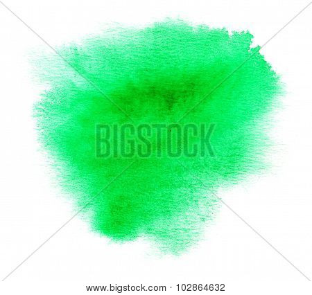 Bright Green Watercolor Splash With Watercolor Paint Blotch