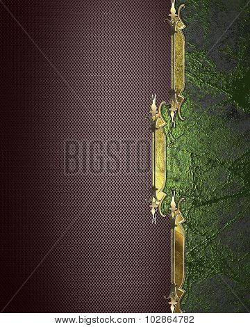 Brown Background With Gold Ornament On A Green Background. Element For Design. Template For Design.