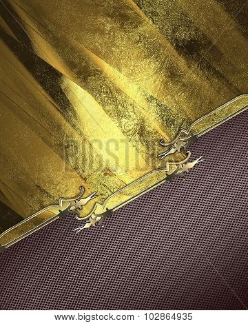 Brown Background With Gold Plate With A Pattern. Element For Design. Template For Design. Copy Space