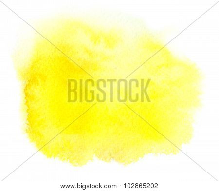 Bright Yellow Watercolor Spot With Watercolour Paint Smudge