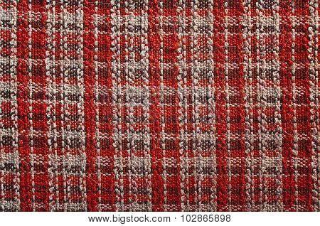 Texture of red tartan fabric