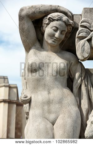 PARIS, FRANCE - SEPTEMBER 9, 2014: Paris - The sculptures on Tracadero. Trocadero is area of Paris on banks of Seine not far from famous Eiffel Tower. On a hilltop in 1937 built a new palace - Palais de Chaillot. Paris France.