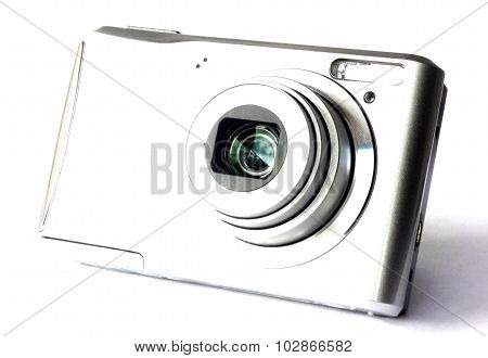 Digital camera isolated on white closeup