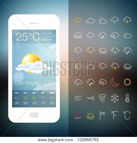 Mobile Weather Application Screen with icon set