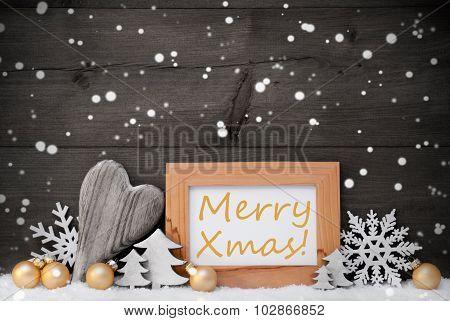Golden Gray Christmas Decoration, Snow,Merry Xmas, Snowflake
