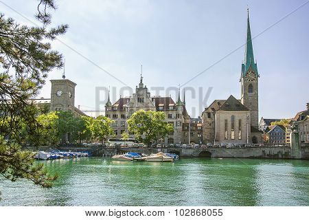 Zurich City Center And Fraumunster Cathedral, Switzerland