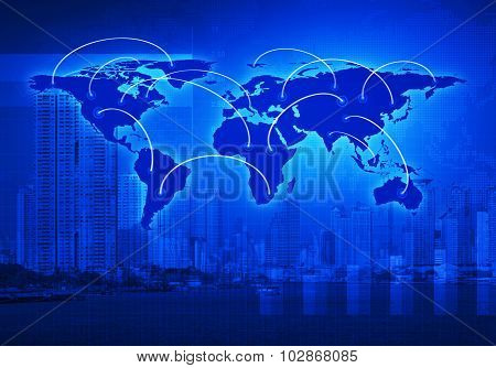 Global Business Connection Concept On City, Elements Of This Image Furnished By Nasa