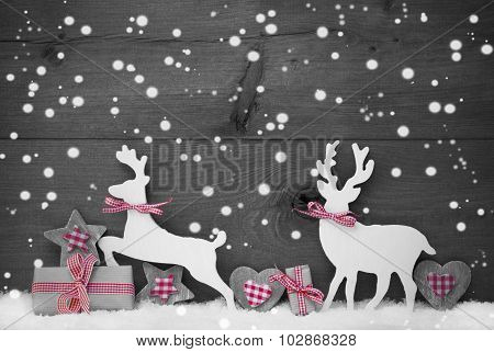 Gray Christmas Decoration, Reindeer Couple In Love, Snowflakes