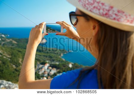 Girl In The Hat Making Photos By The Smartphone Picturesque Adriatic Coast, Montenegro