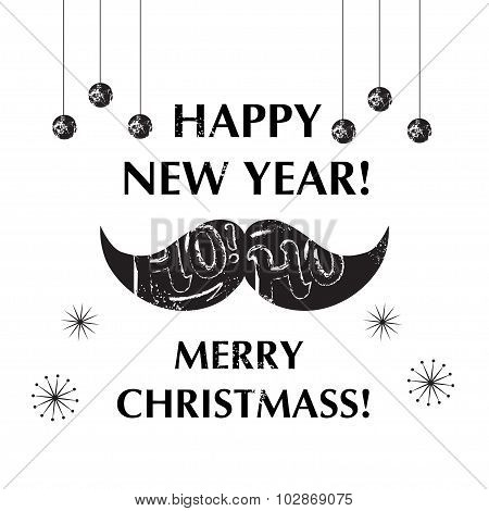 Santa's Moustache. Christmas and New year funny card design.