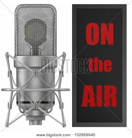 Studio Microphone with on air sign, for broadcasting