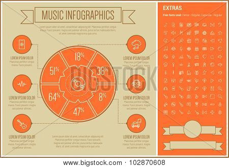 Music infographic template and elements. The template includes the following set of icons - trumpet, disco light, organ, tuner, digital equalizer, xylophone, vibraphone and more. Modern minimalistic