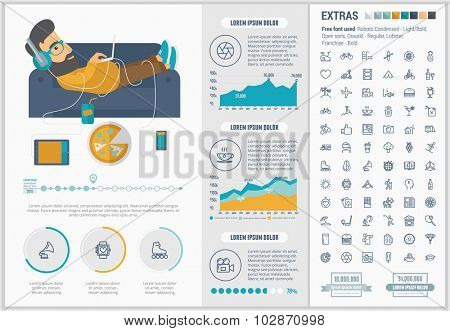 Lifestyle infographic template and elements. The template includes illustrations of hipster men and huge awesome set of thin line icons. Modern minimalistic flat vector design.