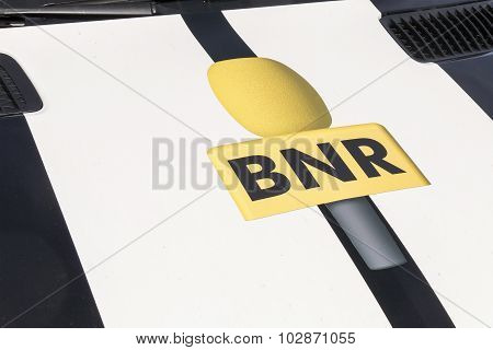 NETHERLANDS - THE HAGUE - MEDIA SEPTEMBER 2015: BNR logo installed outdoor.
