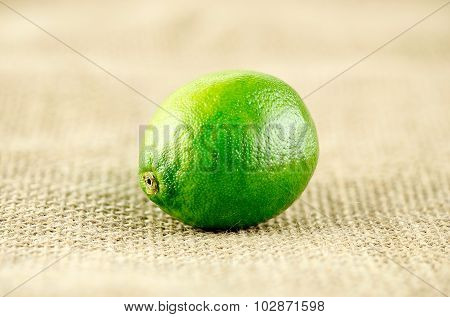 Macro Closeup Of Vibrant Green Lime On Rustic Hessian Background