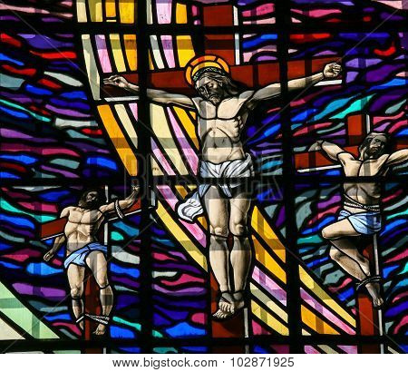 Crucifixion Of Jesus - Stained Glass In Guimaraes
