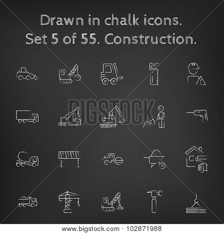 Construction icon set hand drawn in chalk on a blackboard vector white icons on a black background.