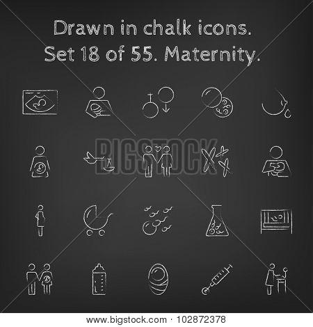 Maternity icon set hand drawn in chalk on a blackboard vector white icons on a black background.