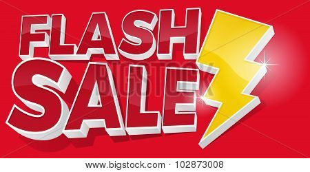 3D Flash Sale And Lightening Bolt Promotional Sign