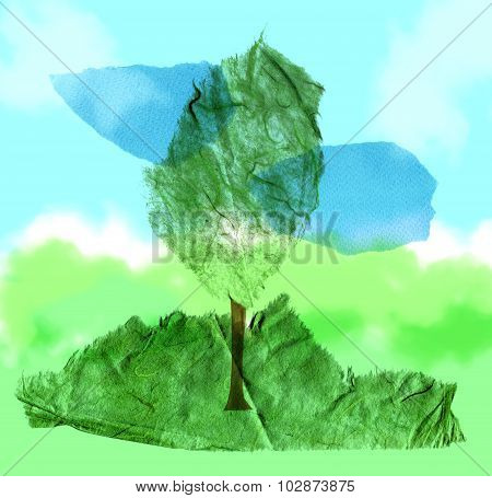 A handmade paper collage, consisting of a tree on a natural background