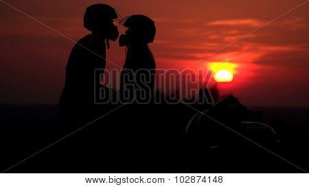 Biker family silhouette