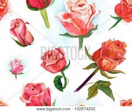 Seamless watercolor roses pattern