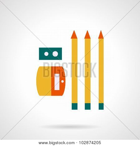 Sharpener with pencils flat color vector icon