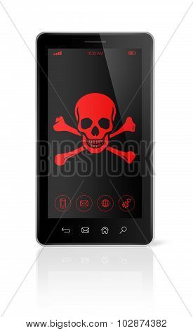 Smart Phone With A Pirate Symbol On Screen. Hacking Concept