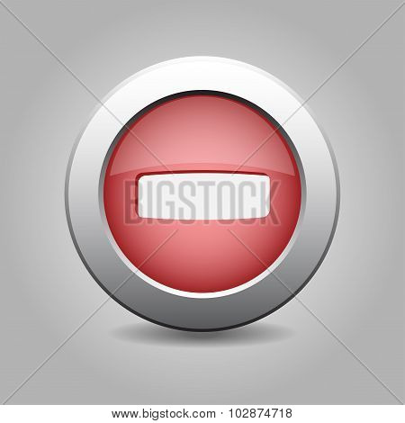Red Metal Button With Minus