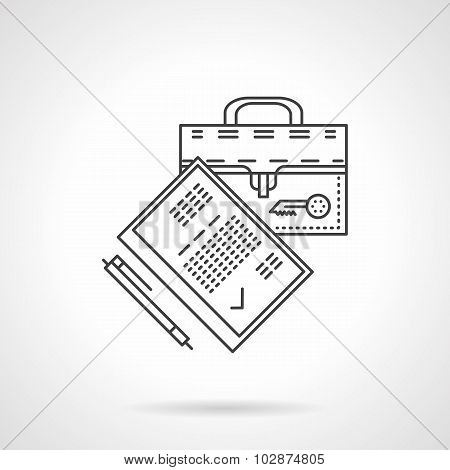 Flat line legal agreement vector icon