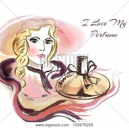 Beautiful Sensual Blonde With Bottle Of Perfume. I Love My Perfume