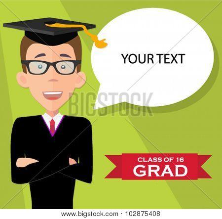 graduation student poster - flat design vector