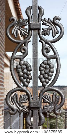 A wrought iron vine decoration of a winery