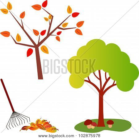 Fall Tree Vector, Foliage, Rake Vector, Green Tree Vector