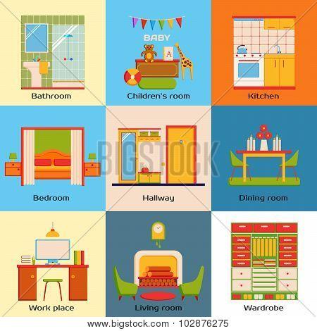 Set of interior design home rooms. Flat design work space, bedroom, kitchen, living room, nursery, b
