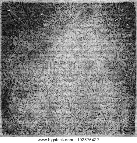 Monochrome Old Grunge Paper With Flowers