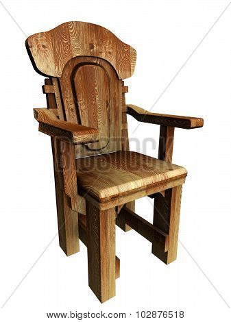 Old wooden stylish chair. 3d Illustration.