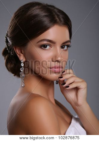 Beautiful Young Tanned Girl With Dark Hair With Bijou