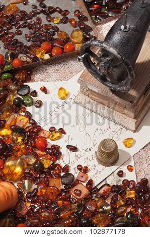 Still-life With Amber And Sewing Machines.