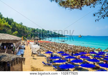 Platis Gialos And Makris Gialos Beach, Kefalonia Island, Greece