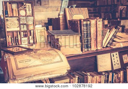 Antique Books In Antiquarian Bookshop