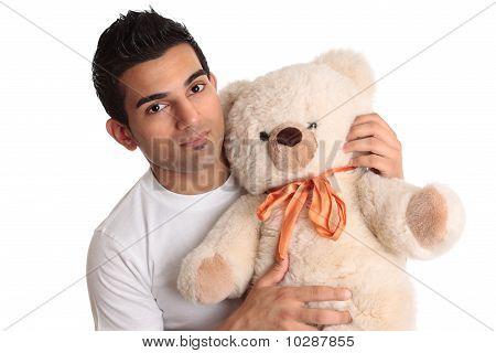 Affectionate Man Holding Bear