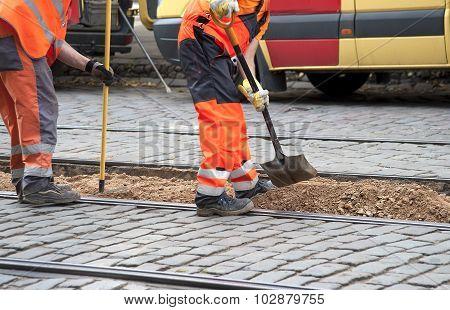 Workers Repair Tram Ways
