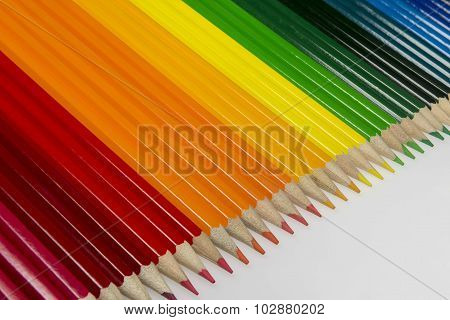 Collection Of Colored Wooden Pencils.