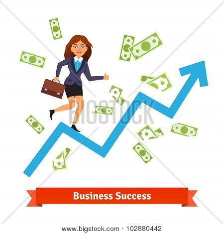Business success and growth concept. Woman in suit